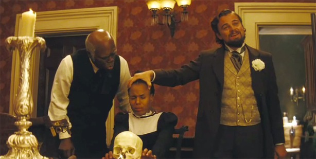 Samuel L. Jackson as Stephen, Kerry Washington as Broomhilda and Leonardo DiCaprio as Calvin Candie