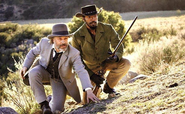 Christoph Waltz as King Schultz and Jamie Foxx as Django