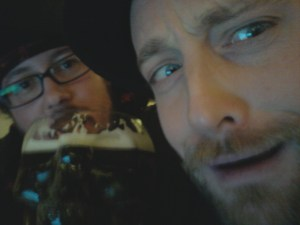 Niall & RJ Bayley from left to right, in between Satan the beer skull