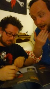 Niall signing his film column for adoring phan RJ Bayley.